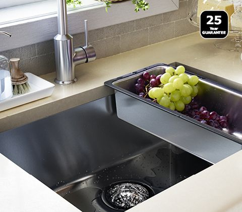 Undermounted sink this works well as you just wipe mess into the ...