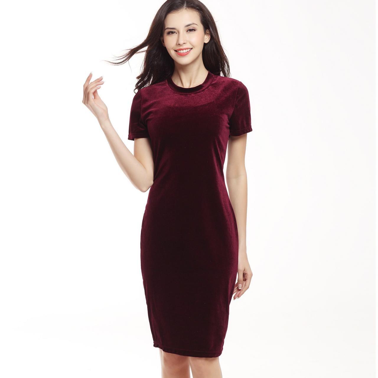 Pleuche Short Sleeve Scoop Slim Knee-length Dress