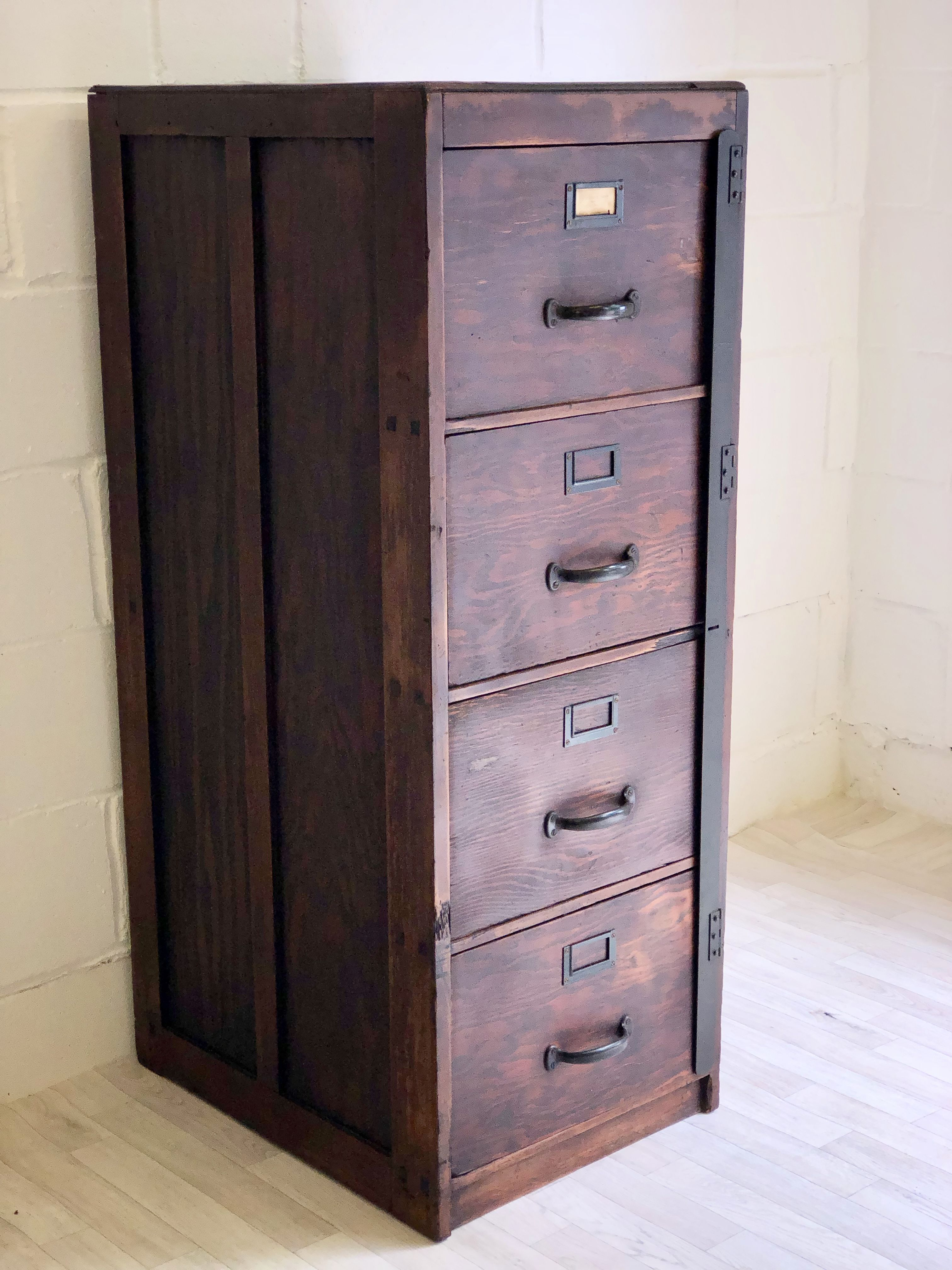 1940s Vintage Filing Cabinet 4 Drawers With Metal Locking Bar In