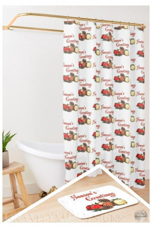 * #ChristmasDecor * Season's Greetings with Ornaments, Baubles  & Pine cones * #BathroomDecor * designed by #Gravityx9 * Shower Curtain and Matching Bath Mat, each sold separately at #Redbubble * Bath mat is available in two size options. Printed foam with non-slip bottom * Bathroom decor ideas * shower room decor ideas * #Showercurtain #bathcurtain #bathtubcurtain #bathtubmat #bathdecor #bathroom #bathmat #bathroommat #floorrug #bathrug #ilovexmas #orname #christmasbathroomdecor
