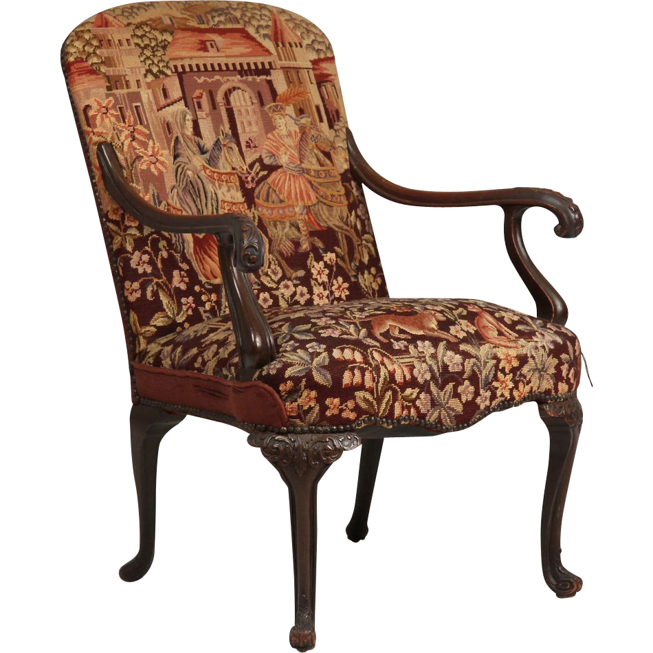 English Georgian Style Antique Chair w/ Tapestry ...