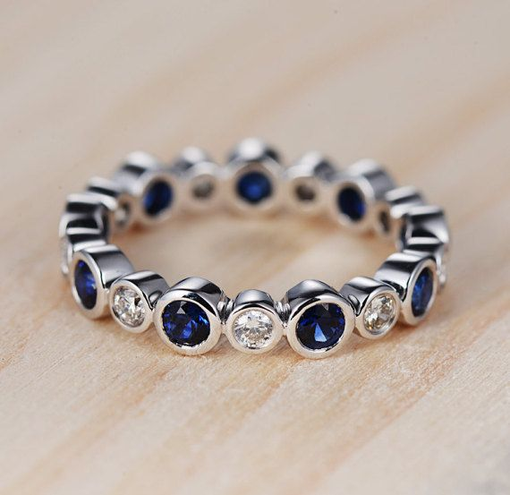 Bezel Set Blue Sapphire Wedding Band White Gold by DoriRing