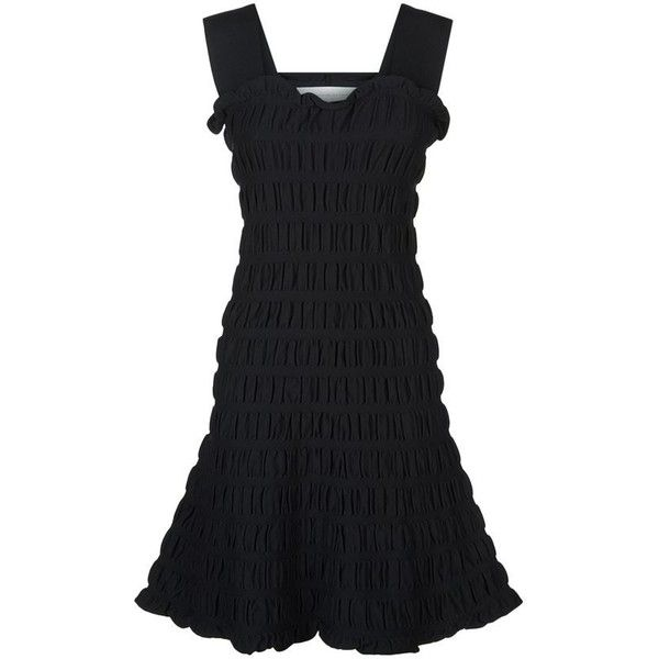 Victoria, Victoria Beckham Sleeveless Smocked Dress ($595) ❤ liked on Polyvore featuring dresses, night out dresses, frill dress, ruffle dress, ruffle party dress and party dresses