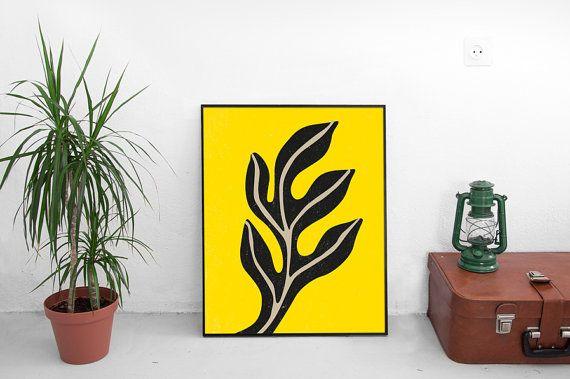 Mid Century Art-Yellow Wall Art-Printable-Print by ModeaPrints | Adi ...