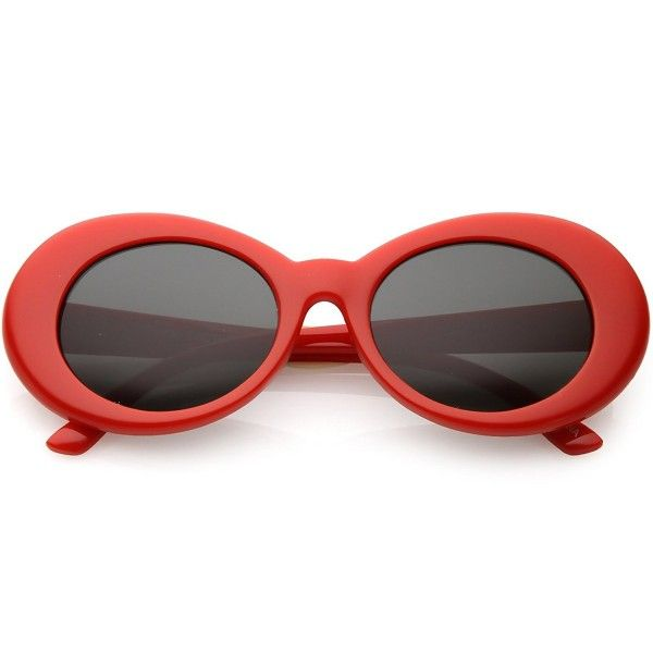 3e14c4dc3e Bold Retro Oval Mod Thick Frame Sunglasses Clout Goggles with Round Lens  51mm - Red   Smoke - CZ184WD4LTZ - Women s Sunglasses