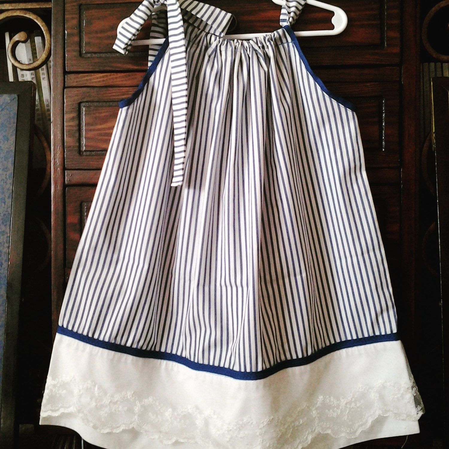 Vintage blue and white stripped cotton pillowcase dress by Sunshinesclothing on Etsy