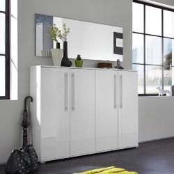 Schuhschrank und Spiegel-Kompakt-Set Sedie-01 Hochglanz weiß (2-teilig), B x H x T ca.: 160 x 198 x