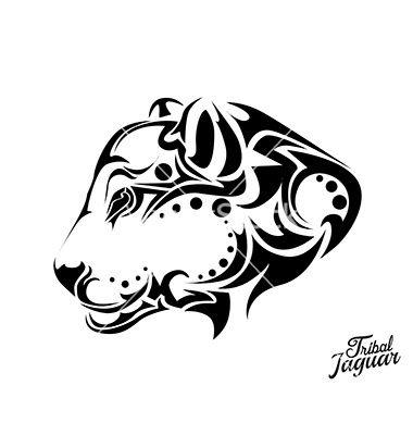 Tribal jaguar tattoo vector 4465918 - by lindwa on VectorStock ...