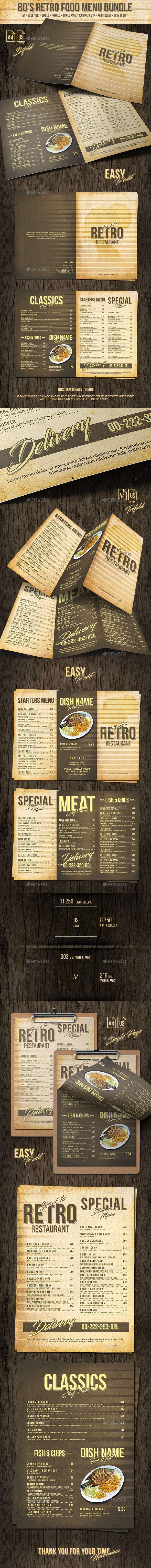 80s Retro Food Menu Bundle - A4 and US Letter