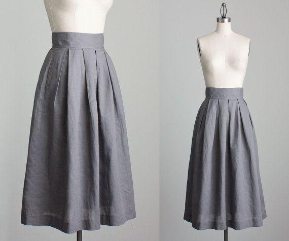 70s Vintage Gray Linen Box Pleated Skirt Midi Length By Decades 52 00 Box Pleat Skirt Pleated Midi Skirt Curvy Girl Fashion