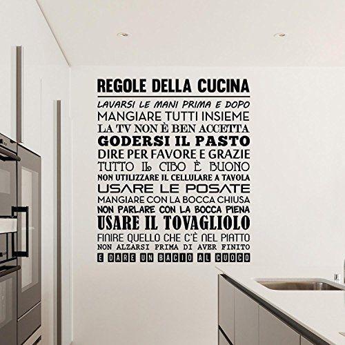 Adesiviamo 1480-M Regole della Cucina Wall Sticker Adesivo ...
