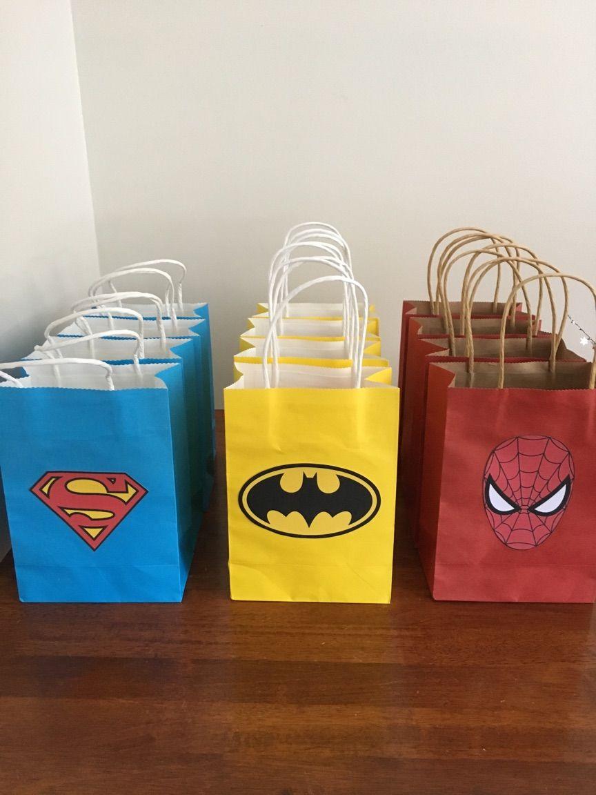 Easy Diy Party Bags Superman Batman Spiderman Superman Birthday Party Spiderman Birthday Party Decorations Superhero Birthday Party