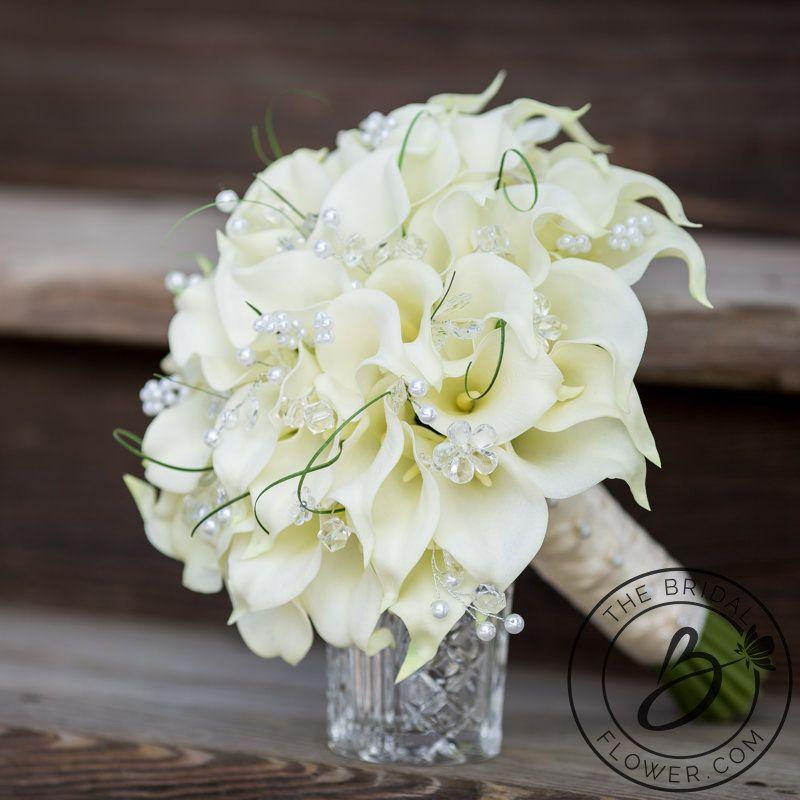 Cream Calla Lily Bouquet Ivory Wedding Bear Gr Lilies Rustic