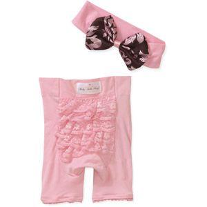 Baby Bella 2 Piece Newborn Girls' Fancy Frill Diaper Cover and Headband Set