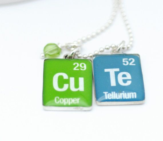 Periodic table necklace geekery nerdy necklace chemistry jewelry periodic table word necklace cu te element green by sugarsidewalk 5200 urtaz Image collections