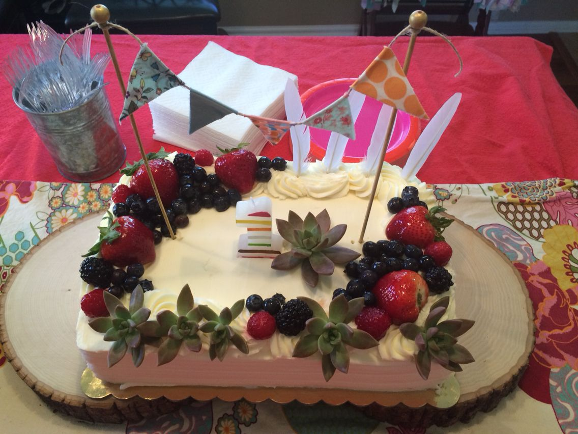 Boho Birthday Party Cake Chantilly Fruit Cake From Whole Foods
