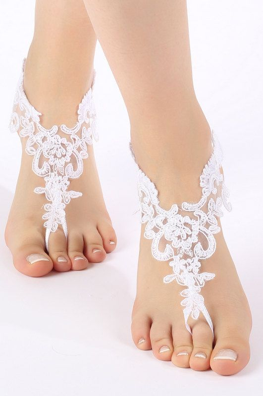 460c7d2af Free Ship white or ivory lace Barefoot Sandals