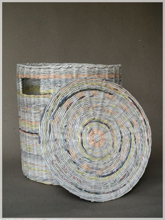 laundry basket made from recycled newspapers by blureco crafts diy