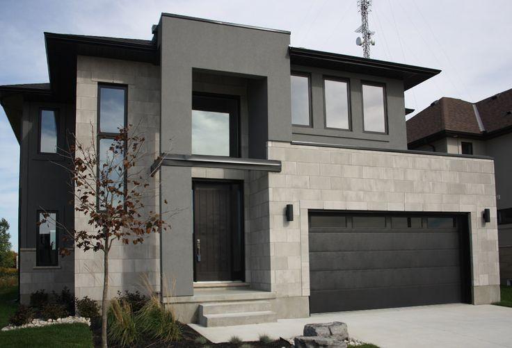 Western Contemporary Warm grey stone light stucco and cedar