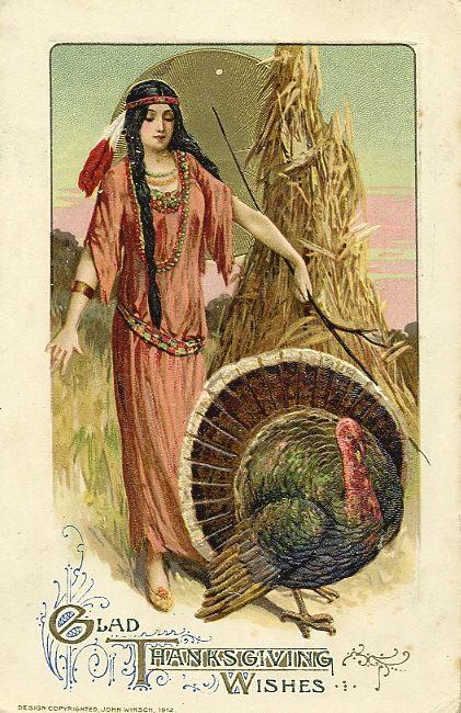 NativeAmerican Indian turkeys vintage greetings Fall