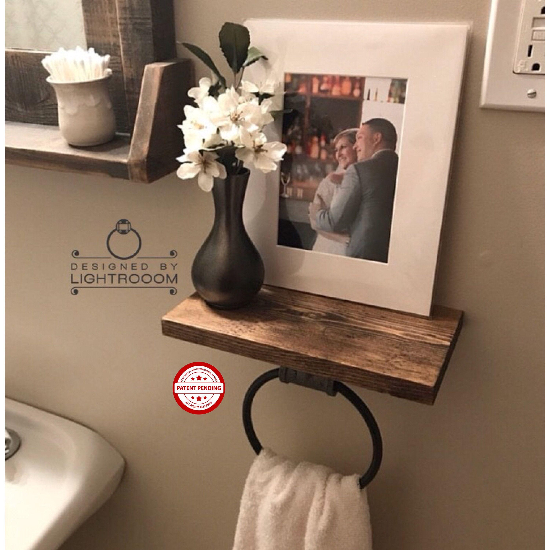 Hand Towel Ring Shelf Bathroom Decor Organizer Wooden Rack