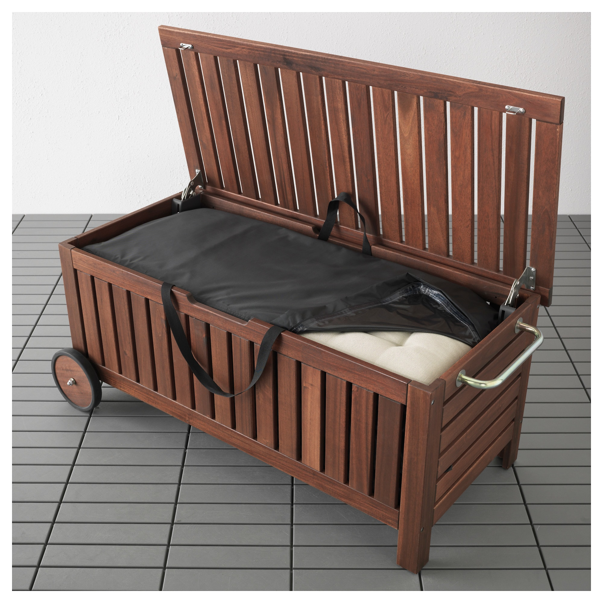Ikea Applaro Tostero Brown Stained Bench With Storage Bag Outdoor In 2020 Wooden Storage Bench Outdoor Storage Bench With Storage