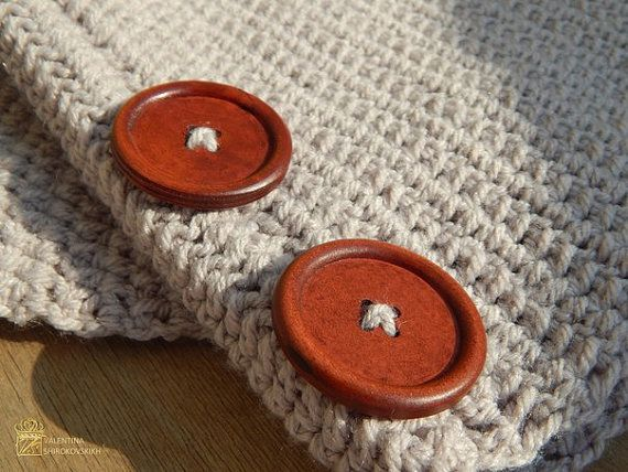 Scarf with Buttons Gray Grey Chunky by MyKnittedAccessories