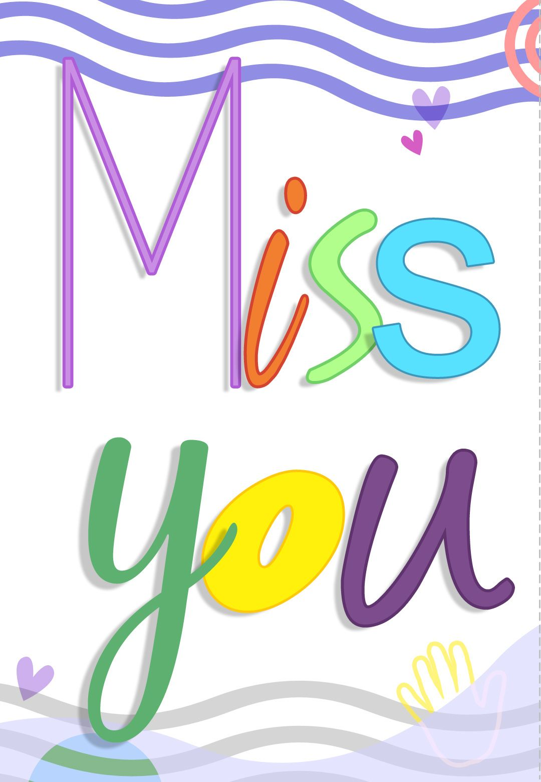 picture regarding Free Printable Miss You Cards named Free of charge Printable Skip Oneself Coloured Greeting Card Printables