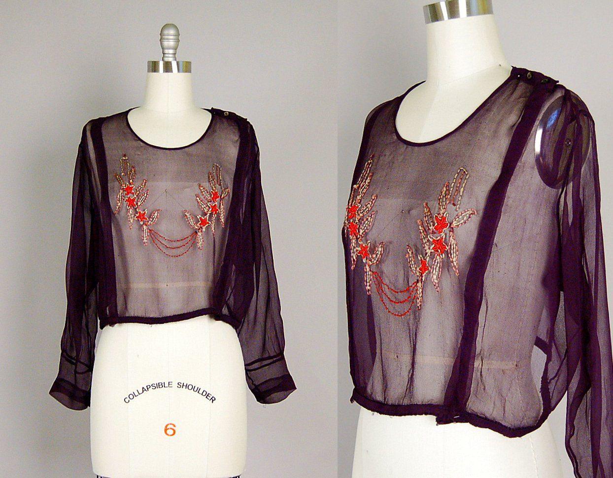 S art deco blouse silk beaded sheer black embroidered art deco