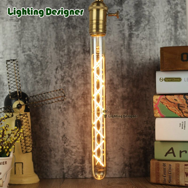 T28 300mm Edison Bulb Test Tube Decor Bulb 2300k 220v 6w E27 Base Tubular Edison Bulb Bar Lamp Wall Lamp Led Filament Edison Bulb Wall Lamp Bulb