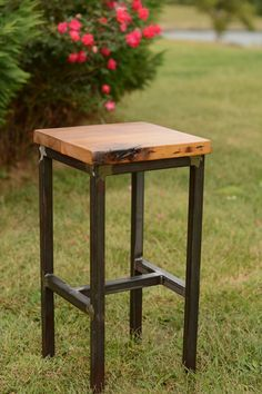 Super Wood And Steel Barstool Reclaimed Lumber By Elpersdesign On Bralicious Painted Fabric Chair Ideas Braliciousco