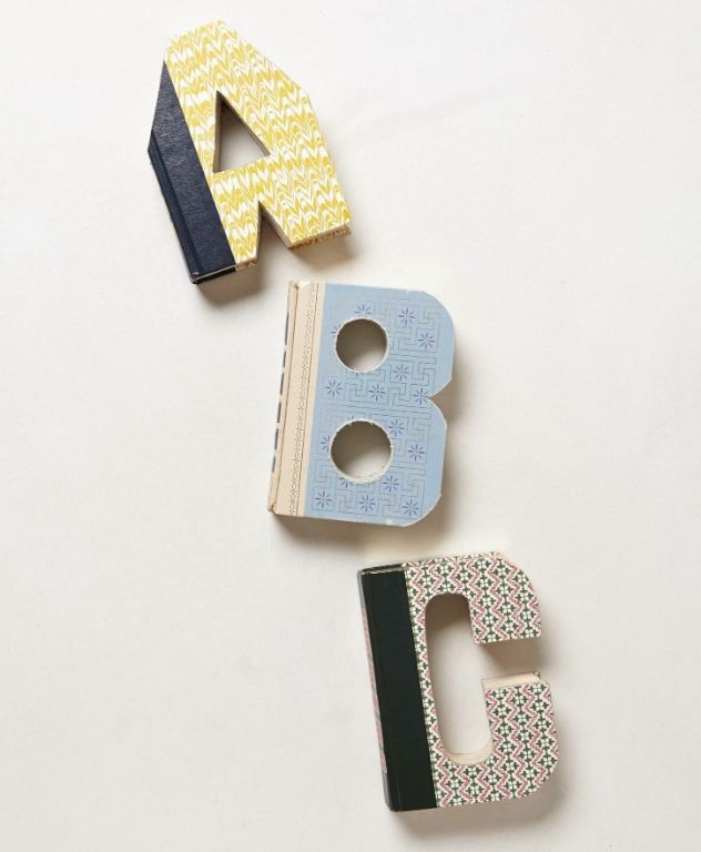 Library Letter: Hand-carved Vintage Book Letters