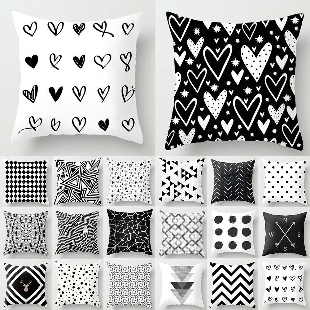 Pillow Case 18 Geometric Cushion Cover Home Sofa Decor Polyester Throw Square - White Sofa