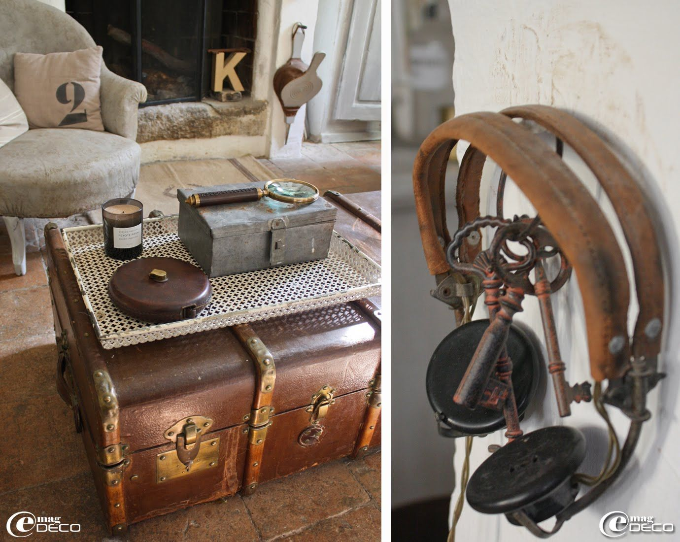 vieille malle en cuir d tourn e en table basse de salon et vieux casque couteur en bak lite. Black Bedroom Furniture Sets. Home Design Ideas