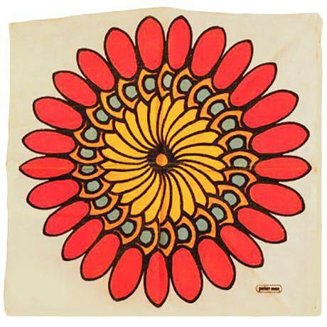 Peter Max Flower Cloth is part of Clothes Art Flower - American (1937  ) Title Untitled  Flower Year circa 1972 Medium Screenprinted Linen Cloth Size 16 in  x 16 in  (40 64 cm x 40 64 cm)