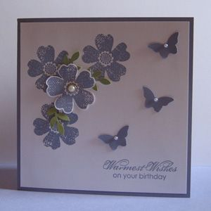 Card made in a Wisteria Wonder colour scheme using the Stampin Up Bitty Butterfly & Pansy Punches.