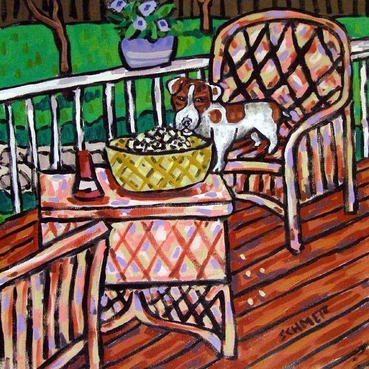 jack Russell terrier sleeping dog 4x6  art print animals impressionism new