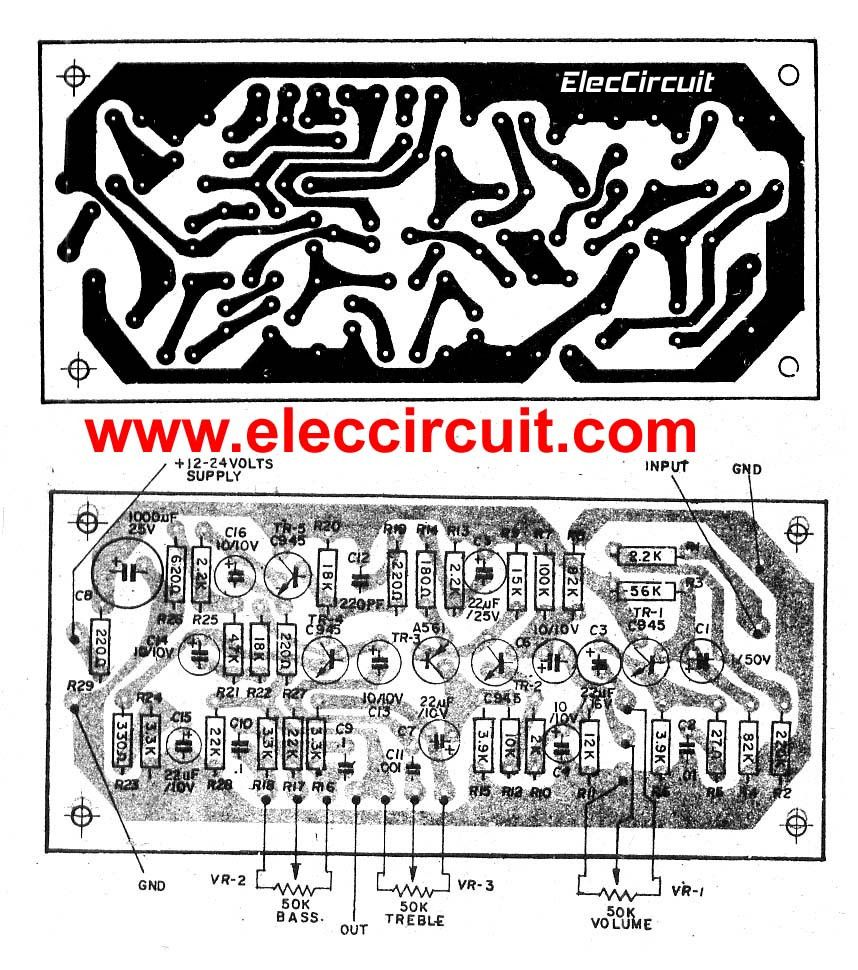 Top 7 Tone Control Circuit Low Noise Eleccircuitcom Power Easy Amplifier Hifi Ocl 150w Rms By Transistor Electronic Projects Pcb Layouts Of High Quality Mono Using 5 Transistors C945