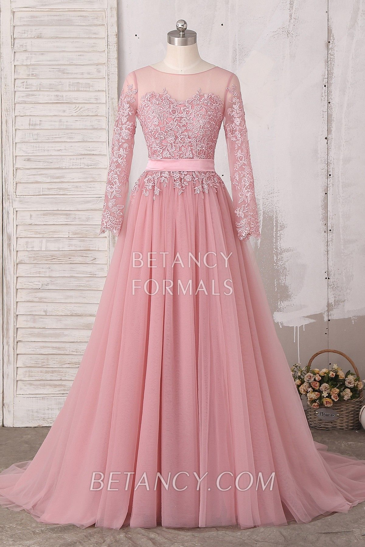 Classic And Timeless Elegant Dusty Pink Tulle Full Length A Line Formal Gown With Sweep Train The Lace Appliqu Long Sleeve Formal Gowns Gowns Tulle Prom Dress [ 1800 x 1200 Pixel ]