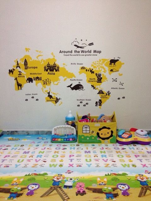 Kid World Map Wall Decal For Baby Nursery Room Wall Decals - Kids world map wall decal