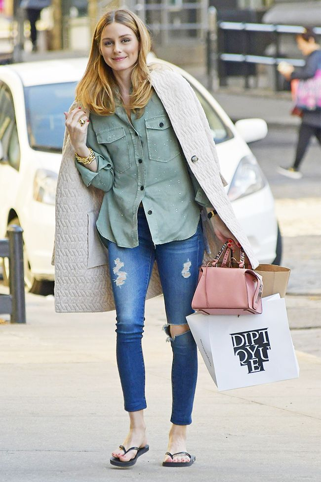 Olivia Palermo Wore Flip-Flops With Skinny Jeans (and It's Really Cute) via @WhoWhatWear