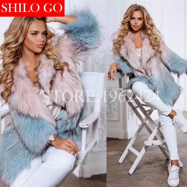 10ce2dcd56b Plus size 2017 invierno nuevas mujeres de la moda de alta calidad de lujo  Macarons Tóner Azul gradiente de solapa de piel de mapache abrigo de piel  ...
