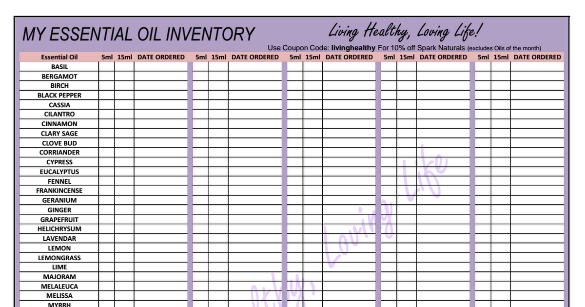 My essential oil inventory pdf also free printables etc pinterest rh