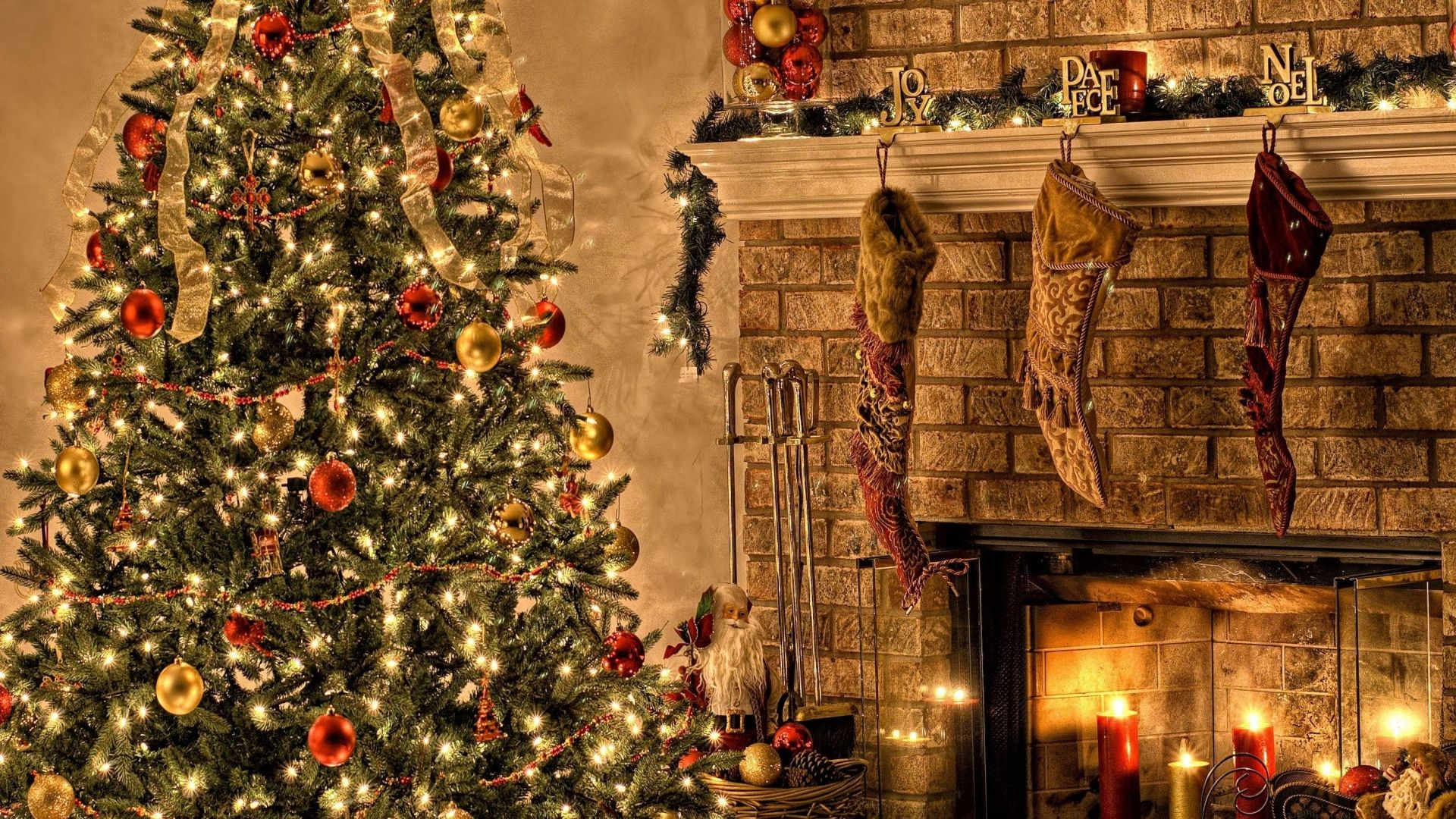 1920x1080 Wallpaper tree, fire, christmas, holiday