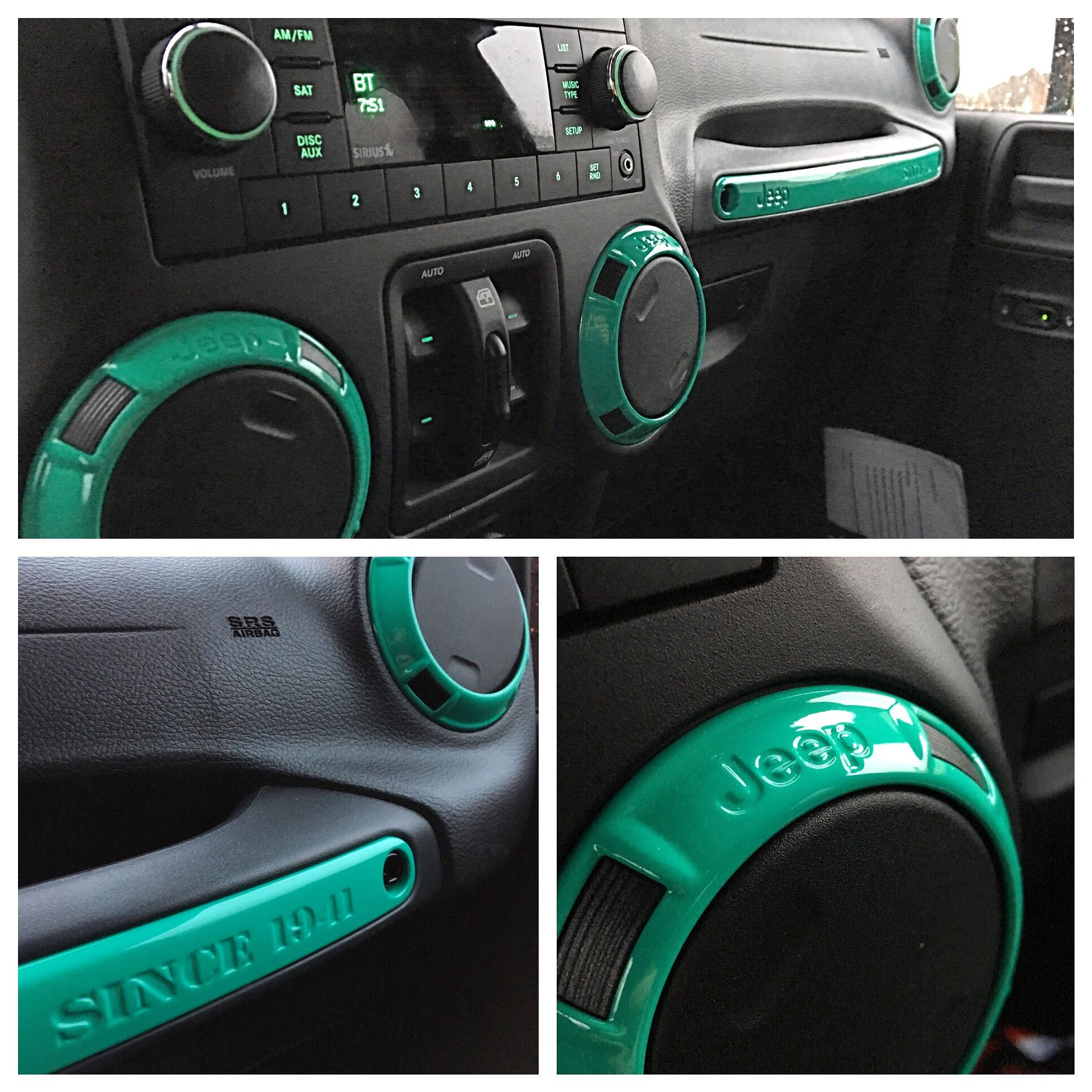 Interior Jeep Pieces Detailed In Mint Green Jeep Wrangler Interior Jeep Wrangler Accessories Jeep Stickers