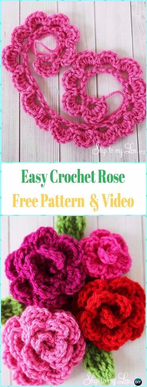 Easy Crochet 3D Rose Flower Free Pattern with Video   Marjie board ...