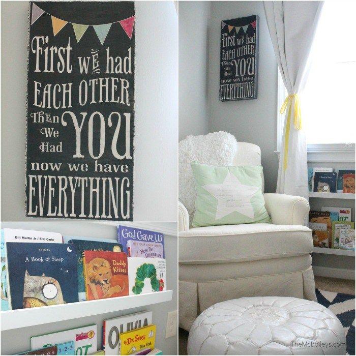 The McBaileys Gender Neutral Nursery | Books and Chair