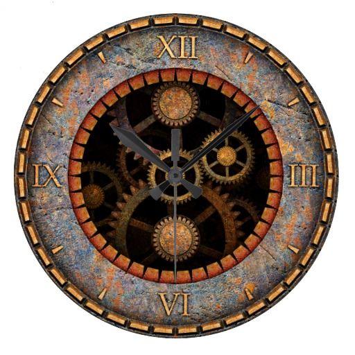 Steampunk Wall Clock 2a Zazzle Com Vintage Wall Clock