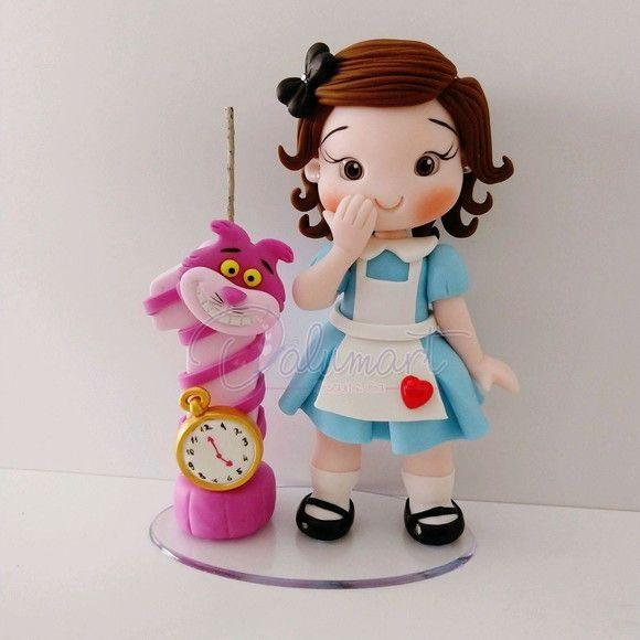 Topo De Bolo Personalizado Alice Molde Alice No Pais Das