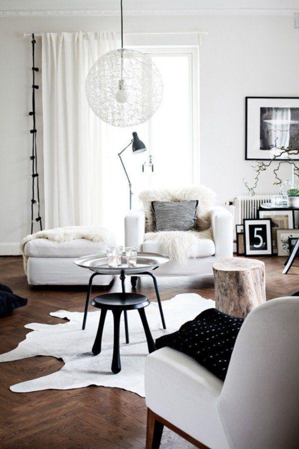 cool Déco Salon - salon moderne blanc et noir et parquet en bois